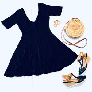 Navy Blue 🌸 Soprano Fit & Flare V-Neck Dress